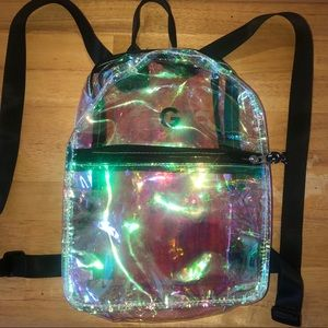 g by guess clear mini backpack